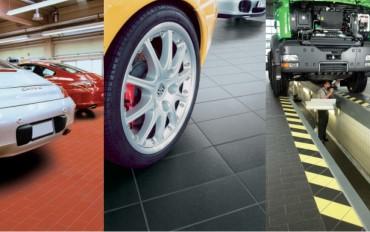 Керамические полы для автосалонов, автосервисов, автомоек